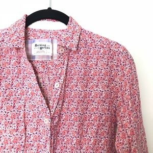 Holding Horses Sz 0 floral button down shirt pink